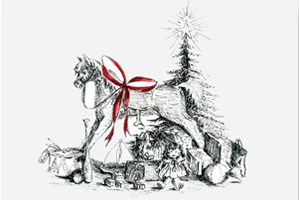 Rocking Horse Under the Christmas Tree